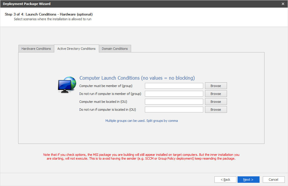 Active Directory launch conditions in an MSI file