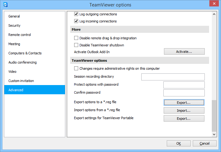 TeamViewer settings export