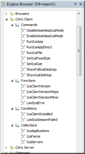 Citrix Reciever client menu