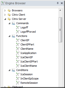 Citrix XenApp Server menu