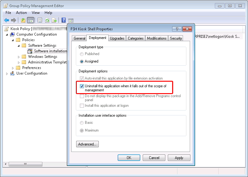 Setting uninstall option for software through GPO