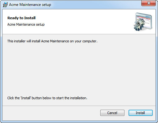 Windows Installer interface