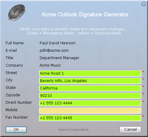 Microsoft Outlook Signature Active Directory based form
