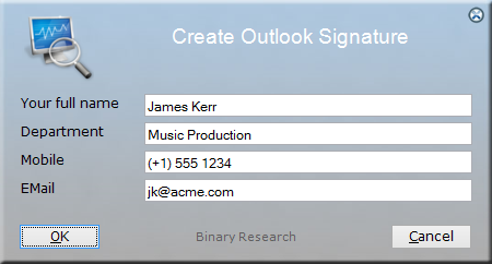 Microsoft Outlook Signature User Input