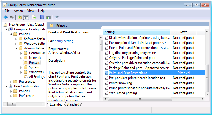 Group policy for disabling printer warnings