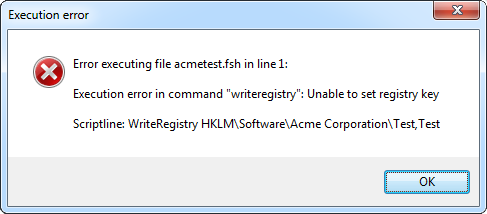 Registry write error