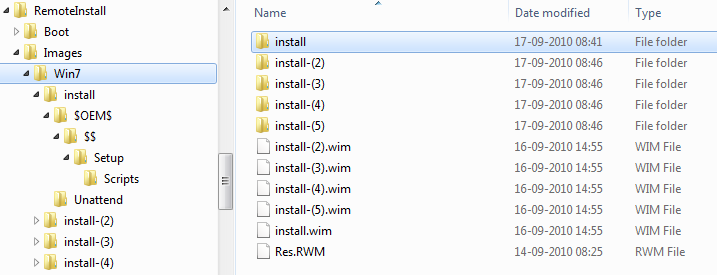 Win7 unattended install images folder