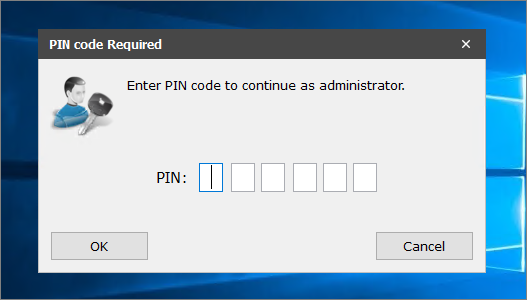 Request Admin rights PIN code