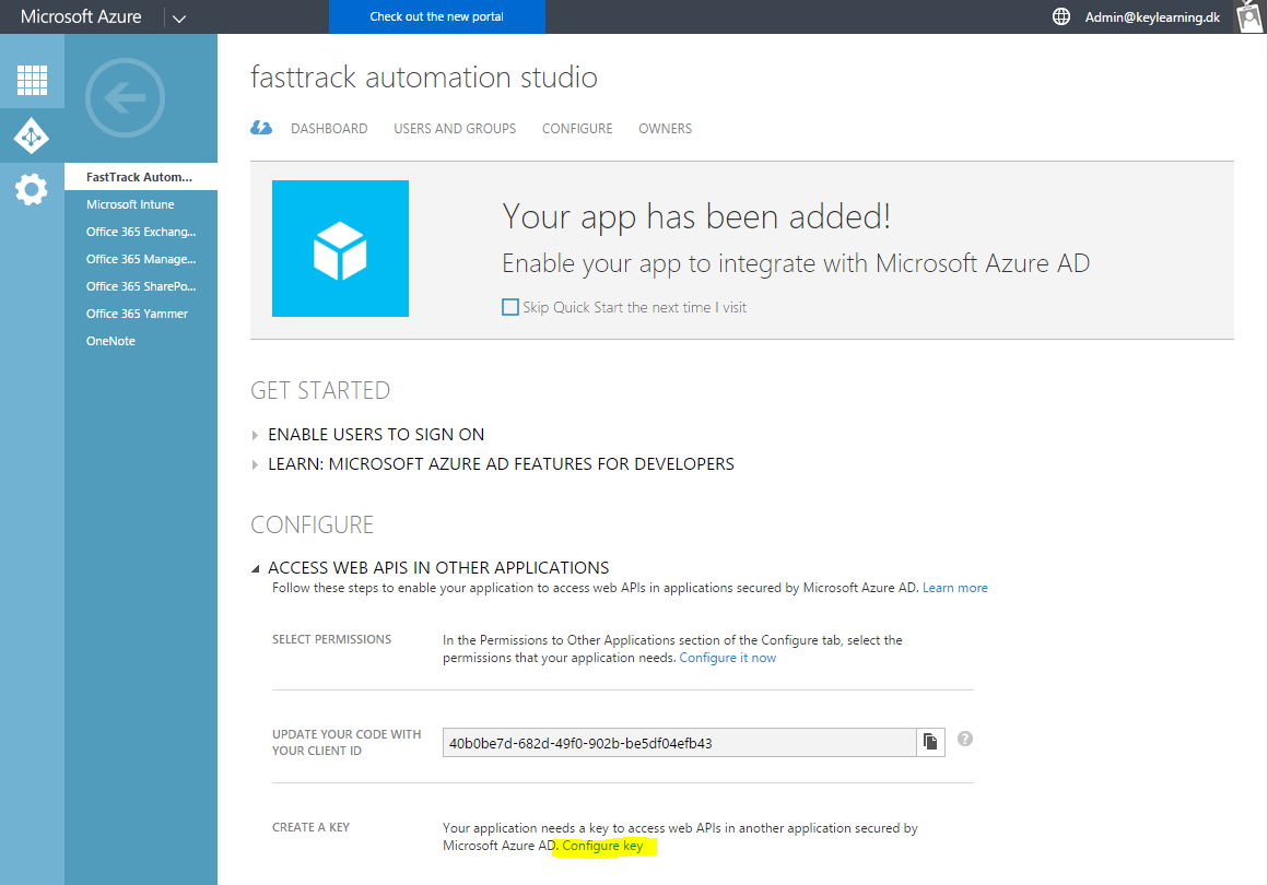 Microsoft Azure AD / Office 365 add application #5