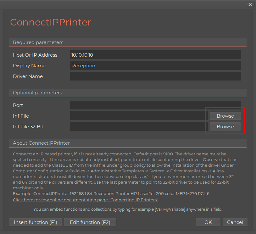 Connecting IP printers
