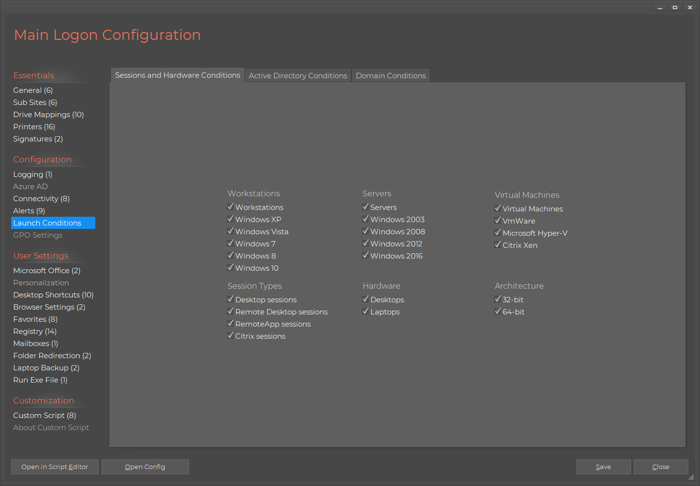 Home Screen Logon Script Launch Conditions