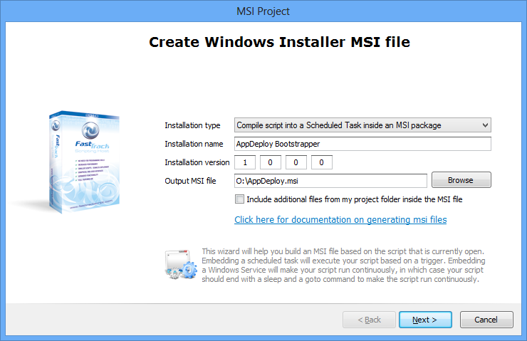 Scheduled task contained inside an MSI to install software