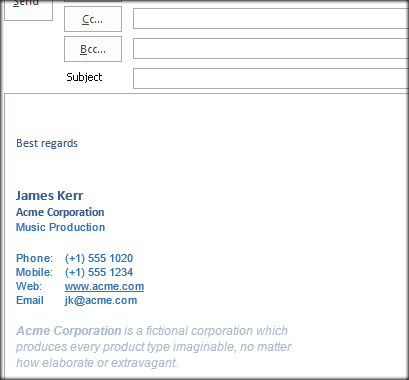 Microsoft Outlook Acme Signature