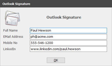Microsoft Outlook Signature - Social Media Icons Personal URL