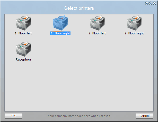 Printer selection menu